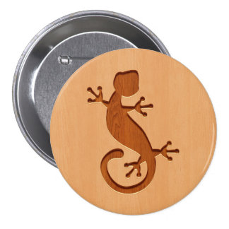 Lizard engraved on wood design 7.5 cm round badge