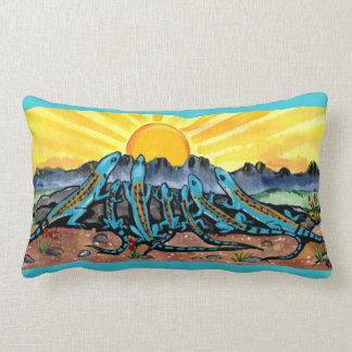 Lizard Family and Sunrise Southwestern  Fun Pillow