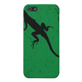 Lizard green with lizard in silhouette iPhone 5 cover