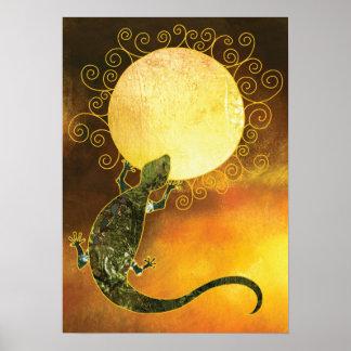 Lizard Holding the Sun Poster
