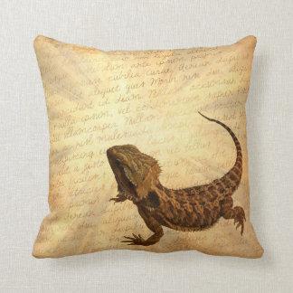 Lizard on a letter cushion