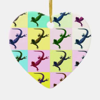 Lizard pop Art Ceramic Heart Decoration