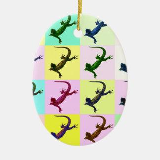 Lizard pop Art Ceramic Oval Decoration