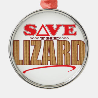 Lizard Save Silver-Colored Round Decoration