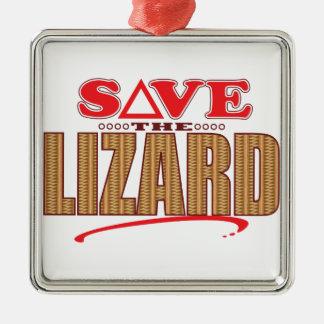 Lizard Save Silver-Colored Square Decoration