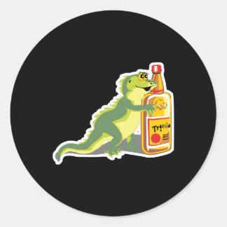 lizard with tequila classic round sticker