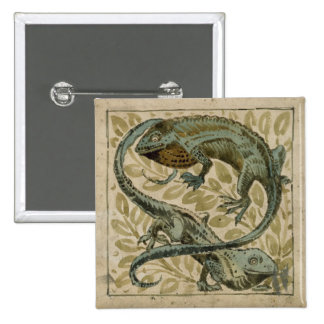 Lizards, design for a tile (w/c on paper) pinback button