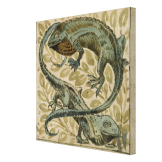 Lizards, design for a tile (w/c on paper) canvas print