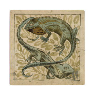 Lizards, design for a tile (w/c on paper) maple wood coaster