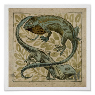 Lizards, design for a tile (w/c on paper) poster