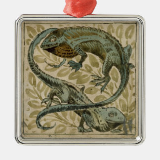 Lizards, design for a tile (w/c on paper) Silver-Colored square decoration