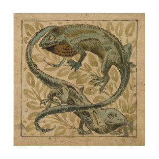 Lizards, design for a tile (w/c on paper) wood canvases