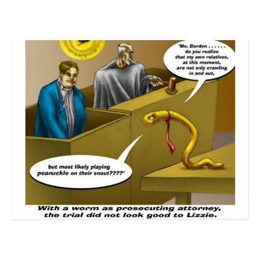 Lizzie Borden Trial Funny Cartoon Gifts Post Cards
