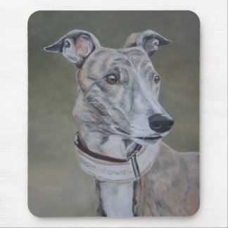 Lizzy Brindle Greyhound Dog Art Mousepad