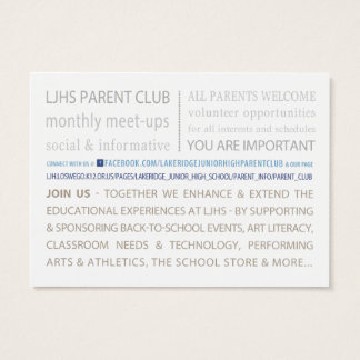 LJHS Parent Club Business Card