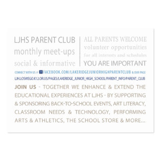 LJHS Parent Club Pack Of Chubby Business Cards
