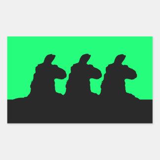 Llama: 3 siloutted Llama in black Rectangular Sticker