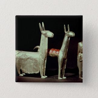 Llama, alpaca and woman 15 cm square badge