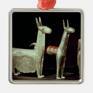 Llama, alpaca and woman christmas ornament