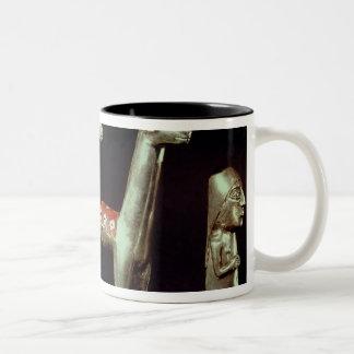 Llama, alpaca and woman Two-Tone coffee mug