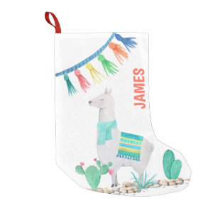 llama and cacti watercolor green personalised small christmas stocking