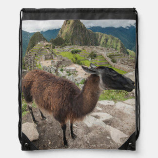 Llama At Machu Picchu, Aguas Calientes, Peru Drawstring Bag