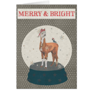 LLAMA & BIRD SNOWGLOBE MERRY & BRIGHT Card