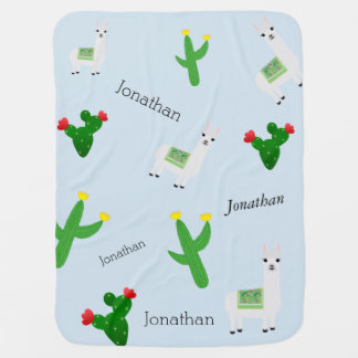 llama cactus with personalised name pattern baby blanket