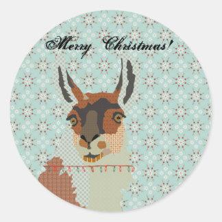 Llama Christmas Classic Round Sticker