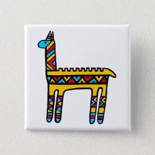 Llama-colours 15 Cm Square Badge