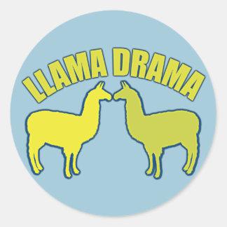 Llama Drama Classic Round Sticker