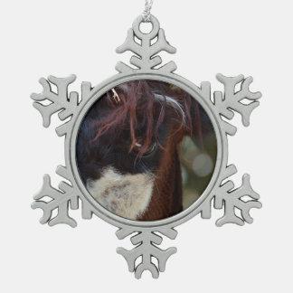 llama eye brown animal farm image pewter snowflake decoration