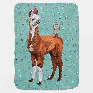 LLAMA & FEATHERS Baby Blanket