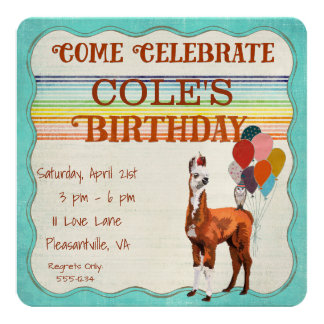 LLAMA & FEATHERS  Birthday Invitation