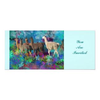 Llama Five Walk in Fantasy Land for Camelids 10 Cm X 24 Cm Invitation Card