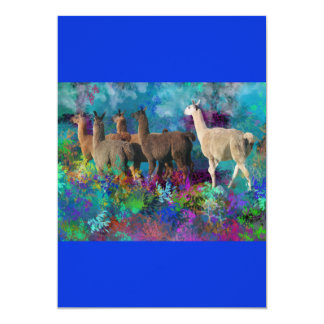 Llama Five Walk in Fantasy Land for Camelids 13 Cm X 18 Cm Invitation Card