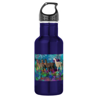 Llama Five Walk in Fantasy Land for Camelids 532 Ml Water Bottle