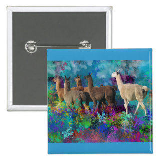 Llama Five Walk in Fantasy Land for Camelids Button