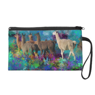 Llama Five Walk in Fantasy Land for Camelids Wristlet Clutch