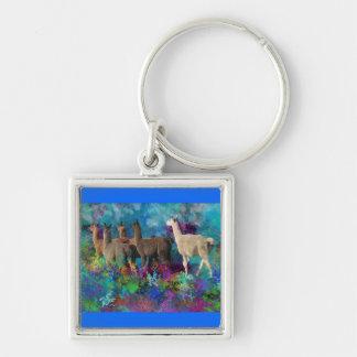 Llama Five Walk in Fantasy Land for Camelids Keychain