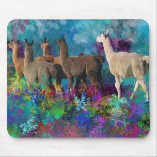 Llama Five Walk in Fantasy Land for Camelids Mouse Mat