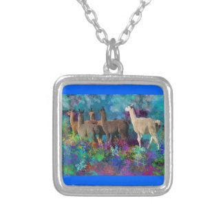 Llama Five Walk in Fantasy Land for Camelids Personalized Necklace