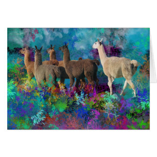 Llama Five Walk in Fantasy Land for Camelids Note Card