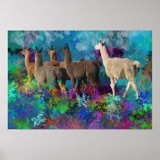 Llama Five Walk in Fantasy Land for Camelids Poster