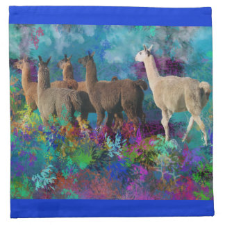 Llama Five Walk in Fantasy Land for Camelids Printed Napkins