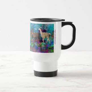 Llama Five Walk in Fantasy Land for Camelids Stainless Steel Travel Mug