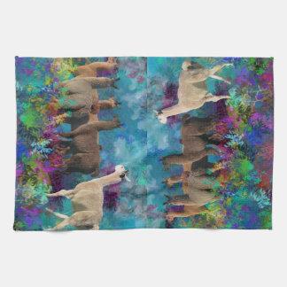 Llama Five Walk in Fantasy Land for Camelids Towel