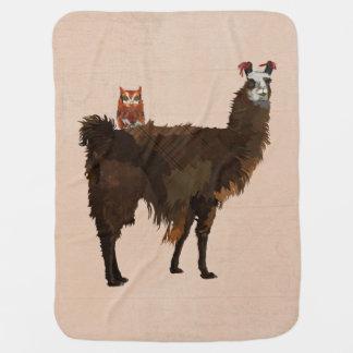 LLAMA & FLORAL OWL Baby Blanket