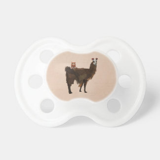 LLAMA & FLORAL OWL PINK Pacifier