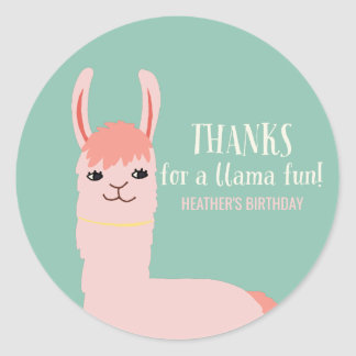 Llama Fun Birthday Party Thank You Classic Round Sticker
